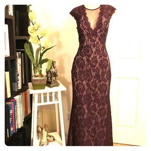 Betsy & Adam Purple Long Lace Formal wear